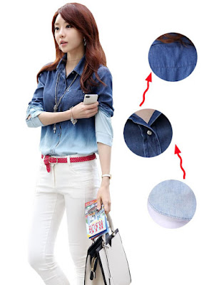 Model Kemeja Jeans Wanita desain Blouse