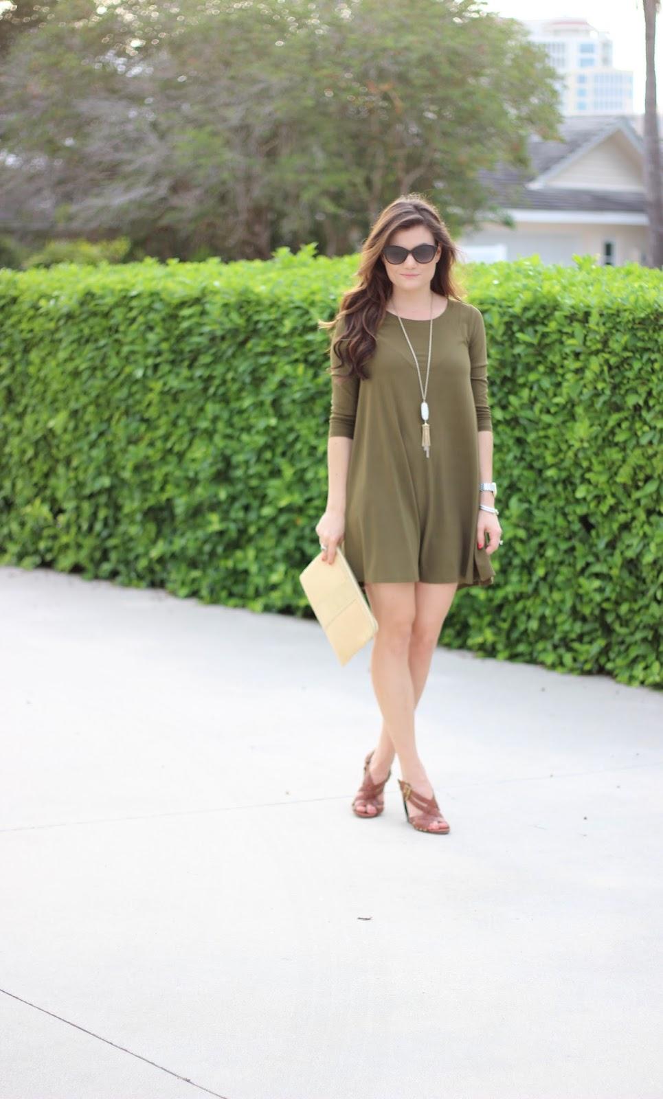 Nordstrom olive swing dress The Sassy Gator blog