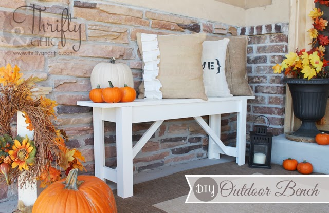 DIY Outdoor Bench and Fall Porch