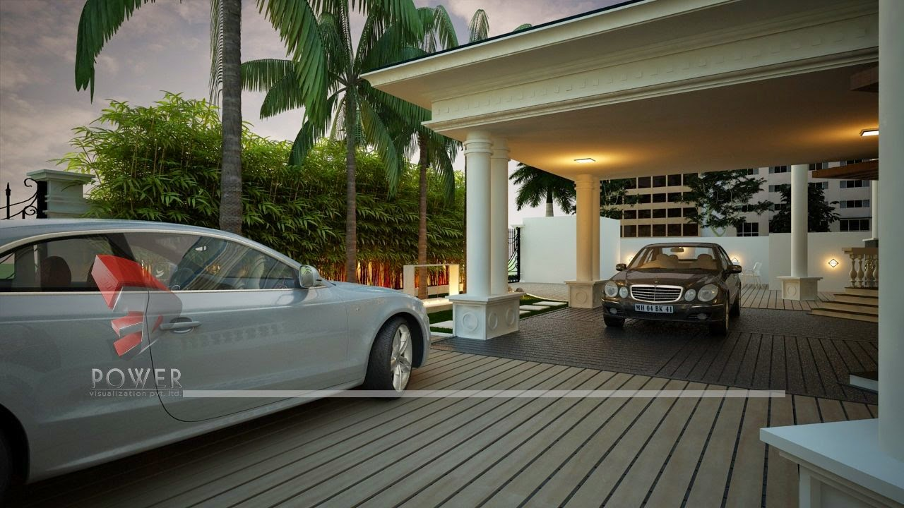 3D Rendering Parking Area In Bungalow