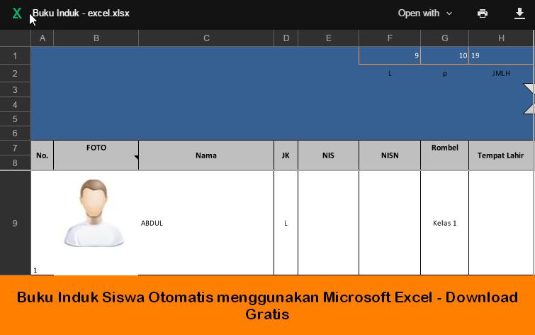 Buku Induk Siswa Otomatis Menggunakan Microsoft Excel Download Gratis Berkas Sekolah