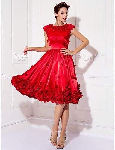 Vestido Coctail rojo de satén hasta la rodilla