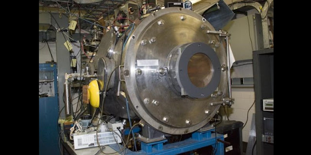 This plasma source ion implantation (PSII) chamber was used in Kuhlman's research. It is 1 meter in diameter. The samples were placed on a silicon wafer on a stage in the center of the chamber and implanted with hydrogen atoms. Credit: PSI