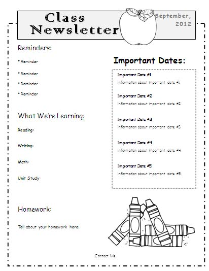 Free Monthly Newsletter Templates For Teachers | Classroom Newsletter Template Word
