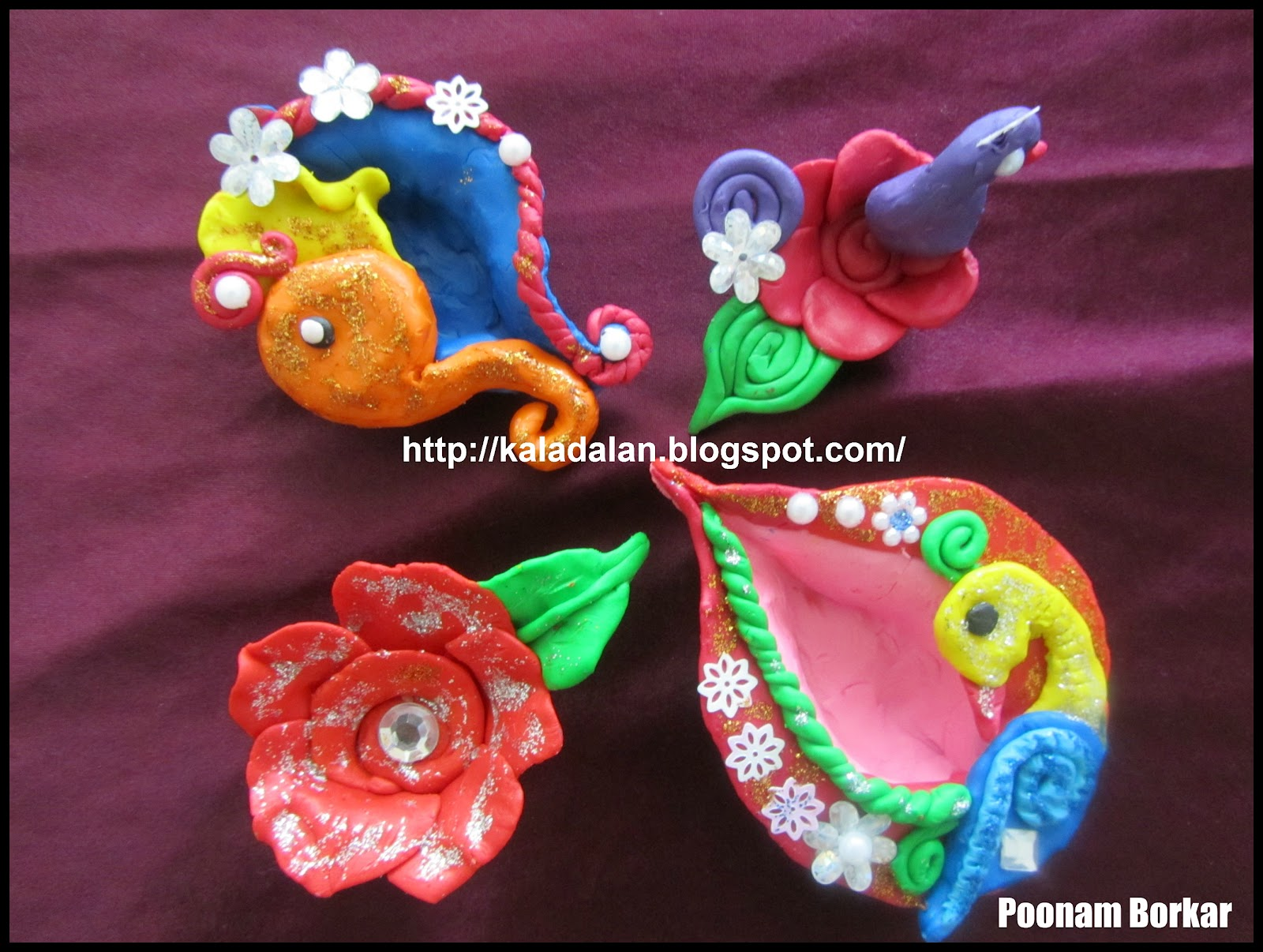 This is set of 5 diyas. I made this using simple colored clay. Since ...