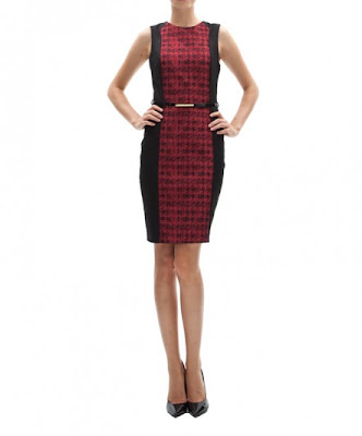 koton vişne kırmızı siyah desenli kemerli dar kesim elbise ofis ve iş elbisesi