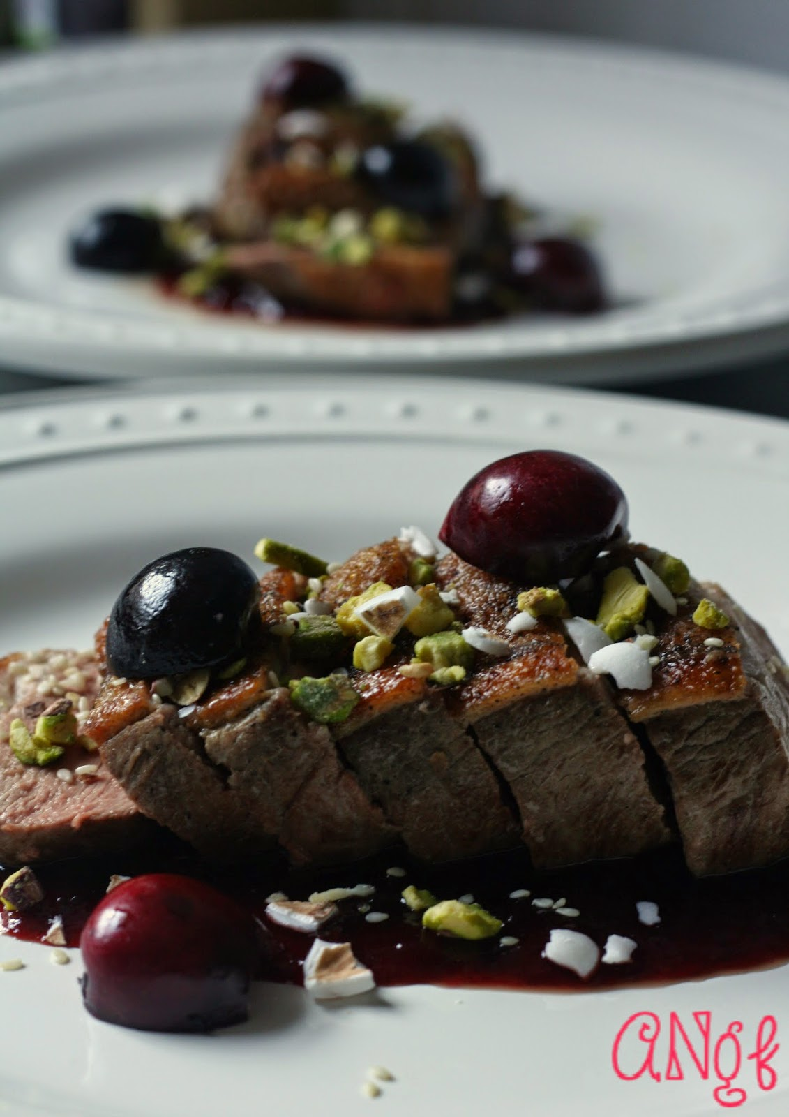 Cherries, pistachios, Jordan almonds with duck breast from Anyonita-nibbles.co.uk