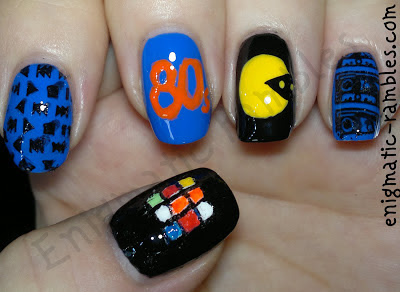 1980-80s-nails-nail-art-pacman-rubix-cube-tape-audio-stamping-stamped-cheeky-CH51