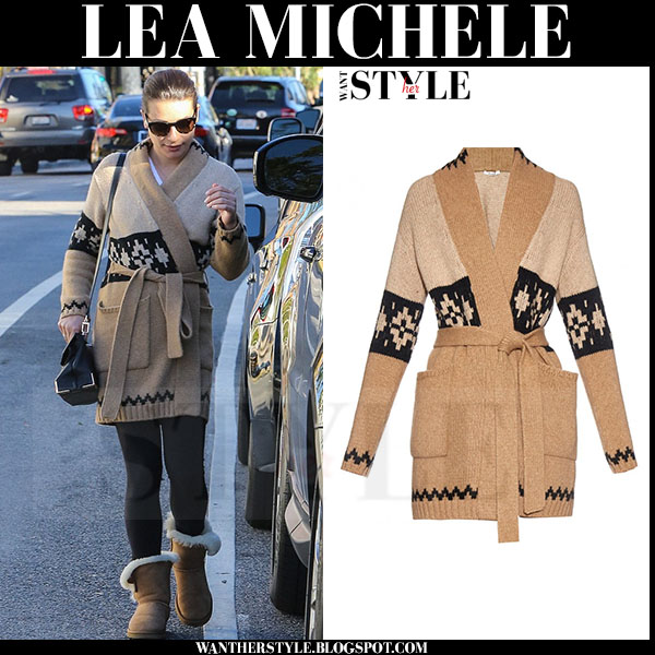 Lea Michele in beige knit belted max mara abelia cardigan and brown ankle ugg boots what she wore streetstyle