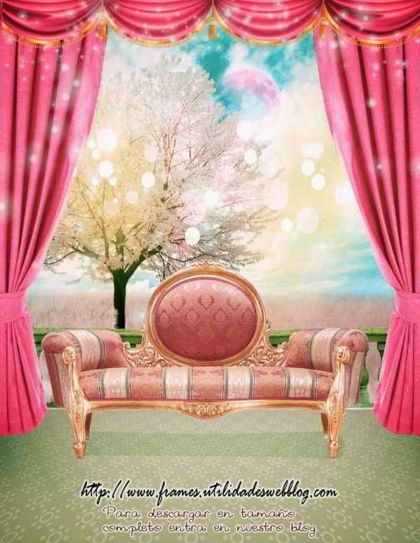 Fondos de ensueño para fotomontajes de 15 años con árbol, cortinas, sillon antiguo