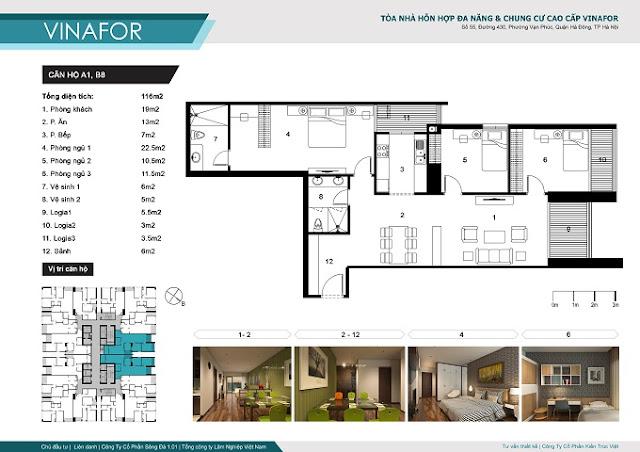 mặt bằng chi tiết căn hộ a1 và b8 chung cư vinafor