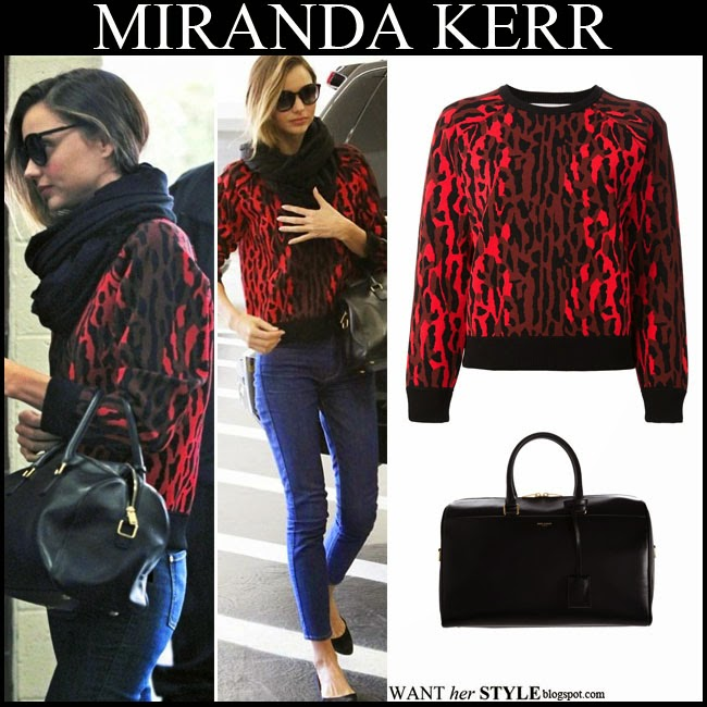 What She Wore Miranda Kerr In Red Leopard Print Sweatshirt With