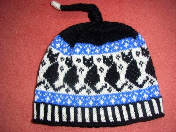image cute Free Knitting Pattern - FairIsle Black Cat Beanie with tail on top