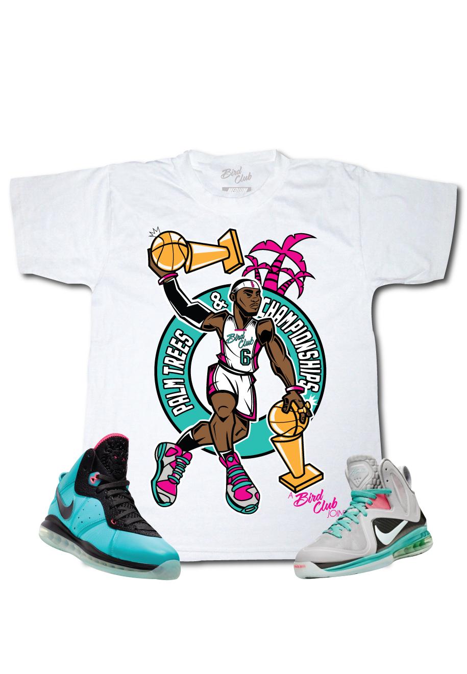 c9db44e660ddf8 Lebron 9 Miami Vice South Beach Shoes   Bird Club Clothing T-Shirt ...