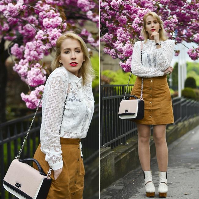 H&M 2015 SS Button Front A-Line Skirt