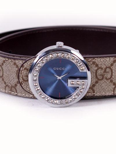 Gucci Leather Belt with Clock Buckle