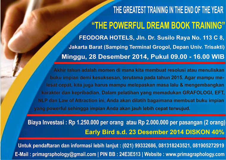 THE GREATES & THE MOST IMPORTANT TRAINING IN THE END OF THE YEAR : THE POWERFUL DREAM BOOK TRAINING