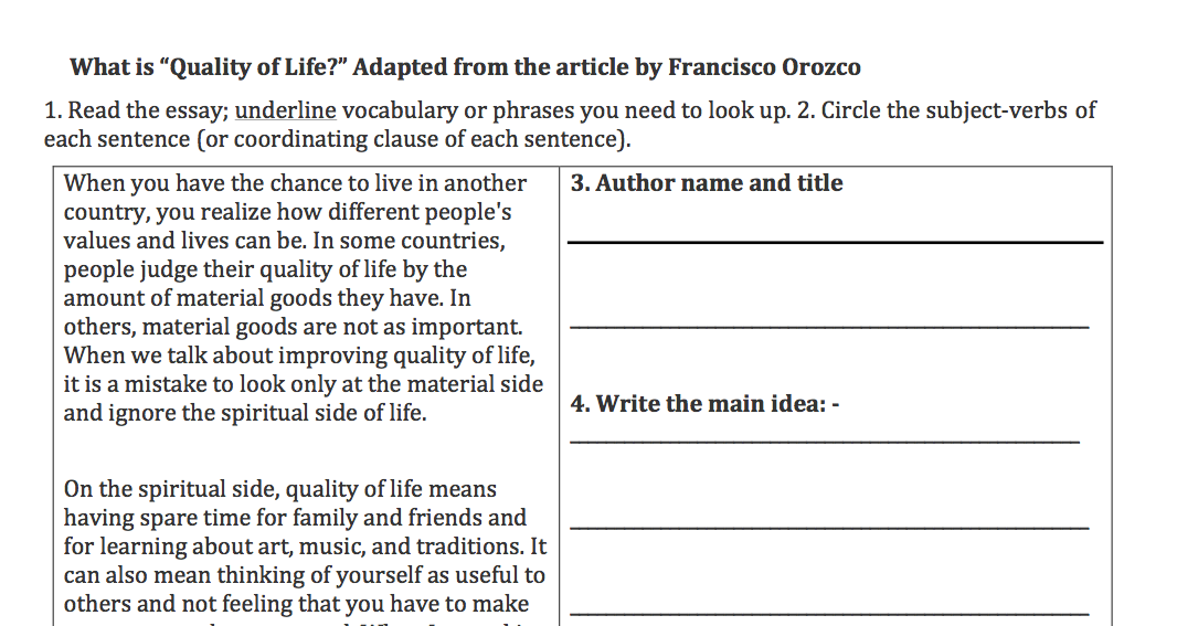value of life essay prompt