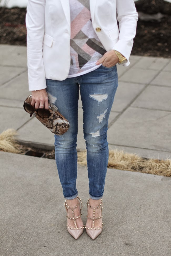 jcrew, valentino, prada, hobo, graphic tee, distressed jeans, snake print clutch, coral makeup