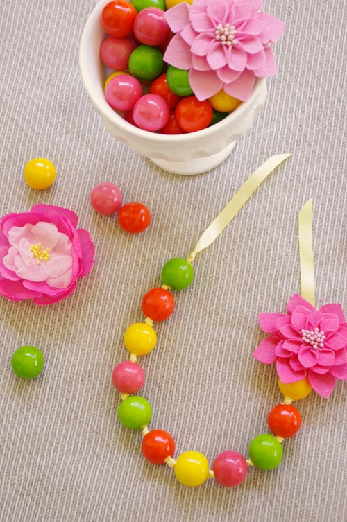 Easter gumball flower necklace