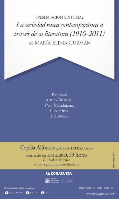 """Presentación del libro """"La sociedad sueca contemporánea a través de su literatura"""" en la Capilla Alfonsina"""