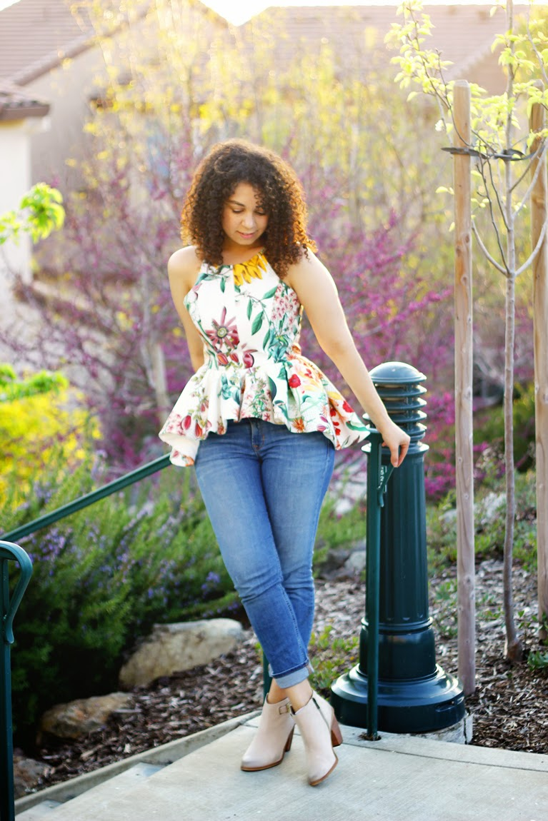 anthropologie dahlia peplum top, curly hair bloggers, natural, a mused blog