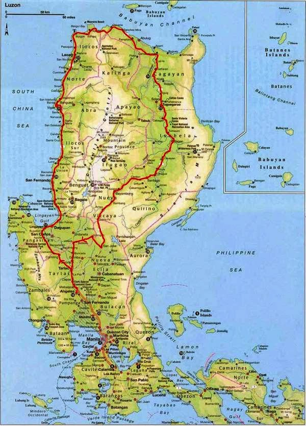 Main city map Philippines Luzon Island.