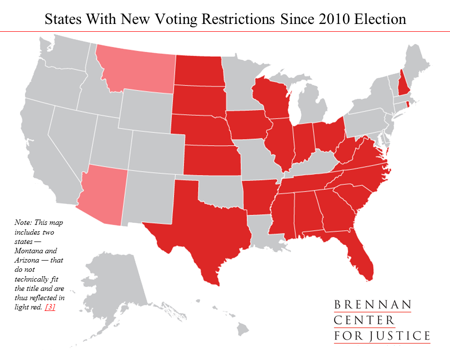 States With New Voting Restrictions Since 2010 Election