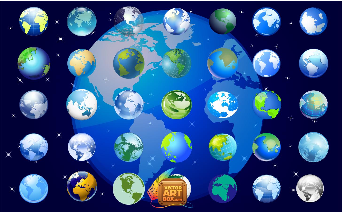 アングルを変えた地球儀のアイコンセット Earth Globe Icons Set イラスト素材