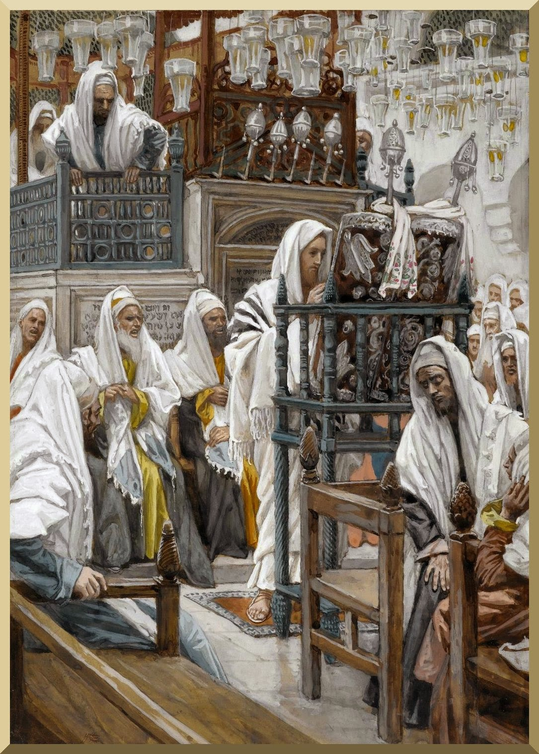 """Jesus Unrolls the Book in the Synagogue"" -- by James Tissot"