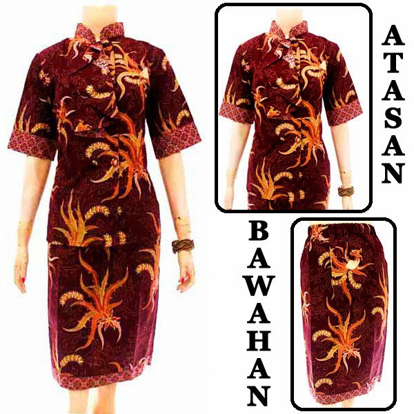 DB3783 Model Baju Dress Batik Modern Terbaru 2014
