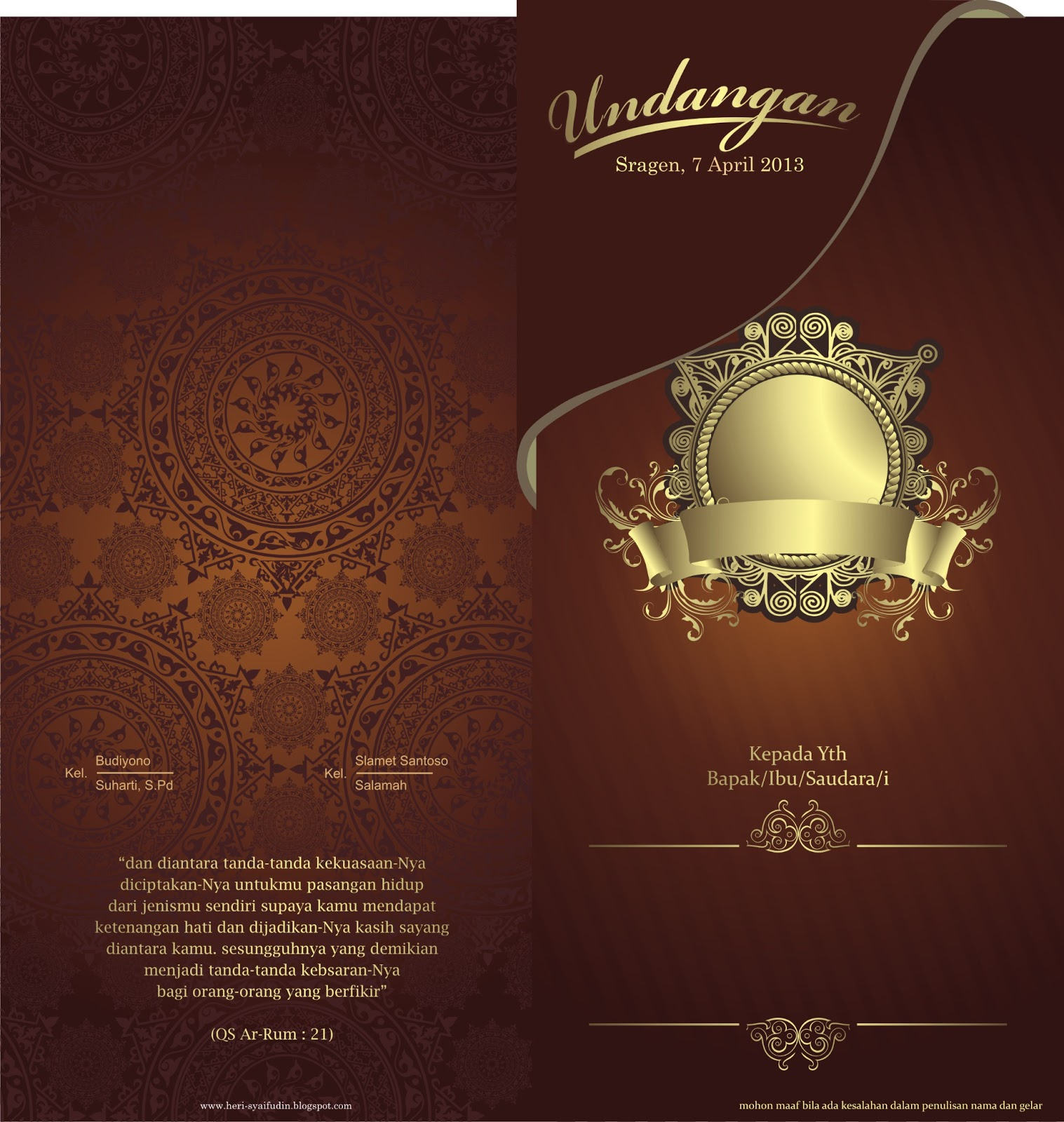 Download Desain Undangan Pernikahan Psd Koleksi Template Nota Siap Edit Format Cdr Kad Kahwin