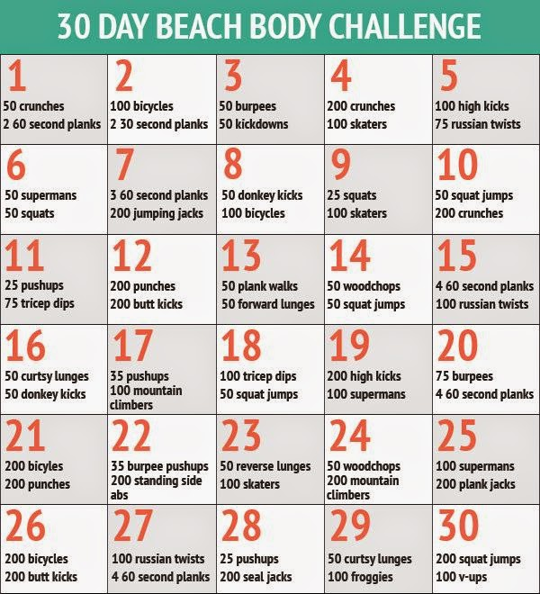 30 Day Beach Body Challenge lose 15lbs