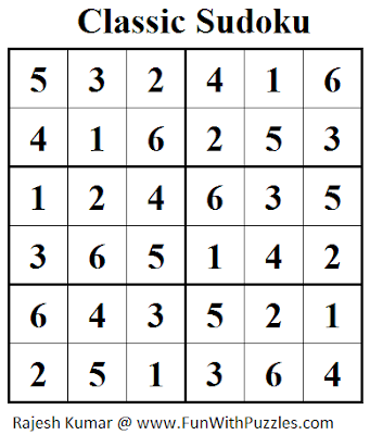 Classic Sudoku (Mini Sudoku Series #26) Solution