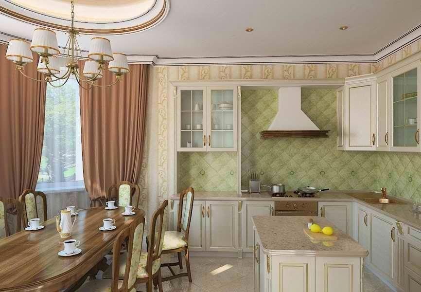Красивые классические интерьеры кухонь