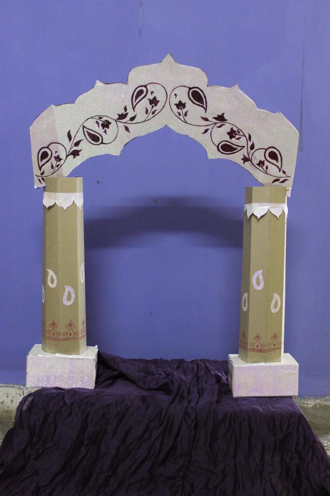 Ready Made Pillars : Green bappa campaign cardboard ganpati makhar