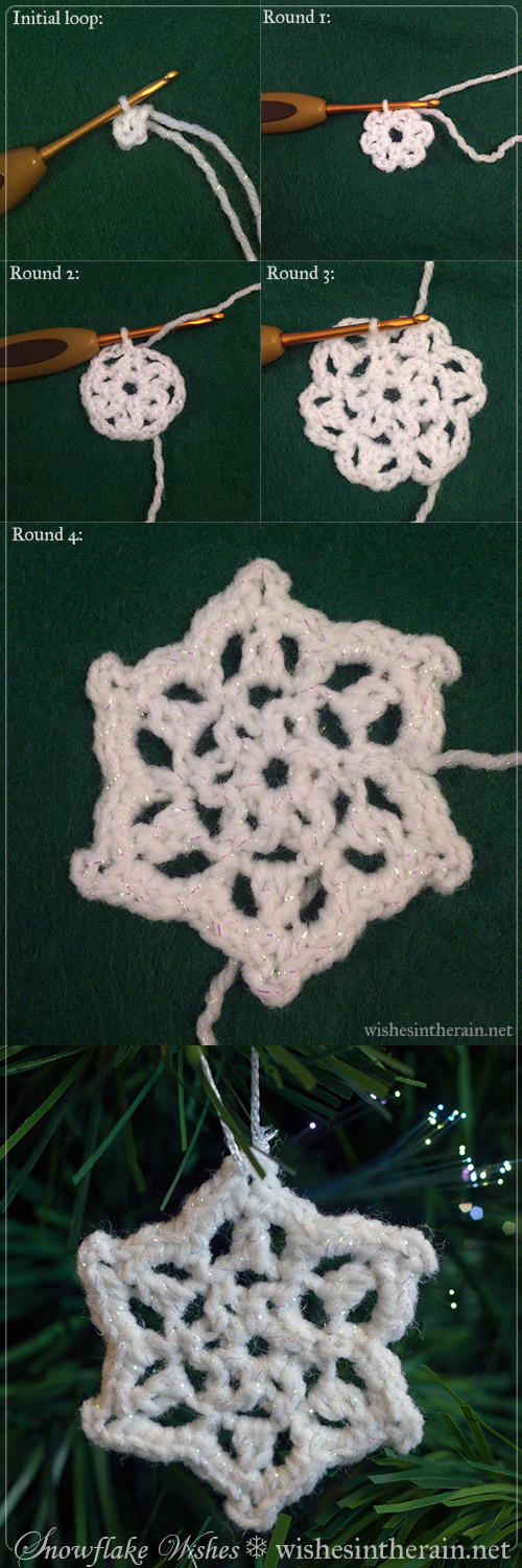 photo instructions for crochet snowflake pattern - www.wishesintherain.net