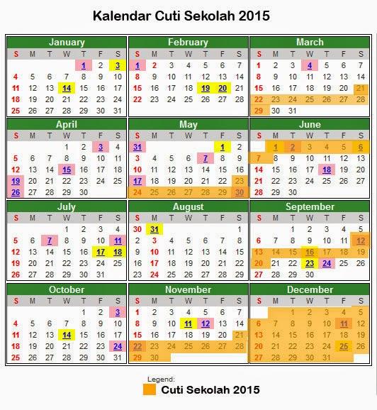 Kalendar dan Takwim Cuti Sekolah 2015