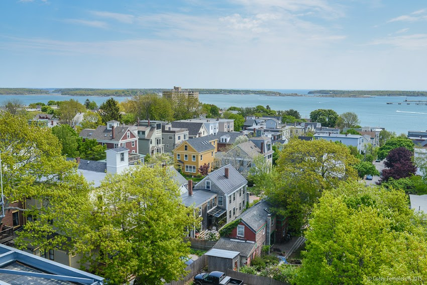 Portland, Maine USA May 2015 Summer photo of Munjoy Hill and Casco Bay from the Portland Observatory. Photo by Corey Templeton.