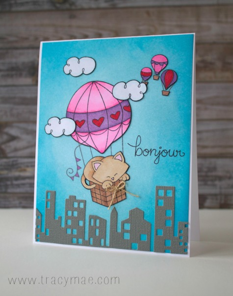 French Kitty in Hot Air Balloon Card by Tracy Gruber | Newton's Nook Designs | Newton Dreams of Paris Stamp Set