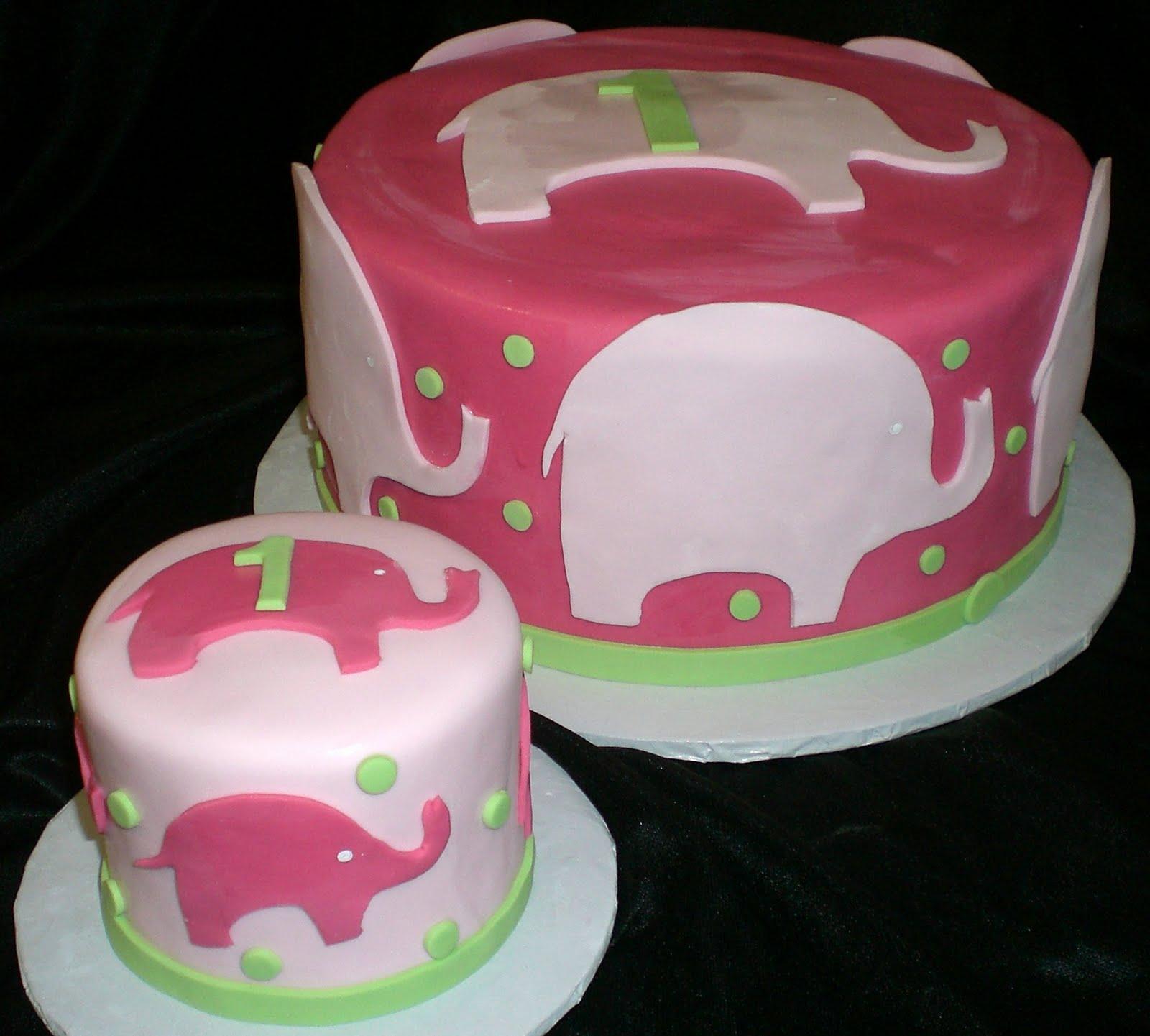 Pink Elephant 1st Birthday Cake