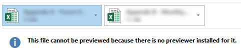 Fix outlook 2016 error for Excel attachments : This file cannot be previewed because there is no previewer installed for it