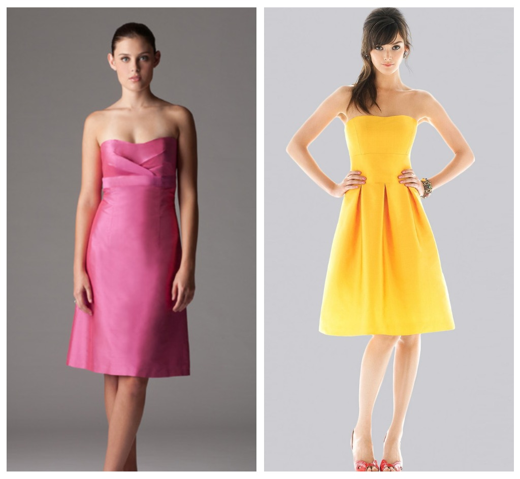 Pink And Yellow Wedding Dresses : Yellow and pink bridesmaid dresses overlay wedding
