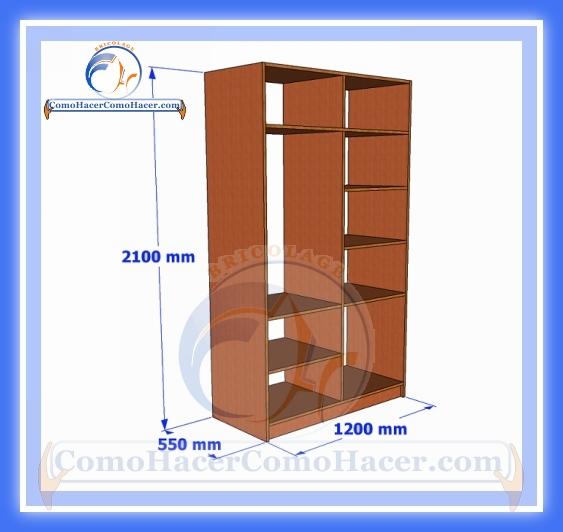 Placard de melamina plano con medidas web del bricolaje for Planos de roperos de madera