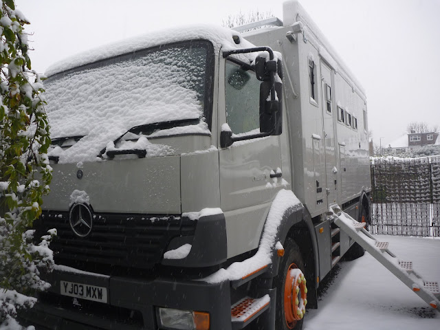Jim the mercedes 1823 overland motorhome in the London snow