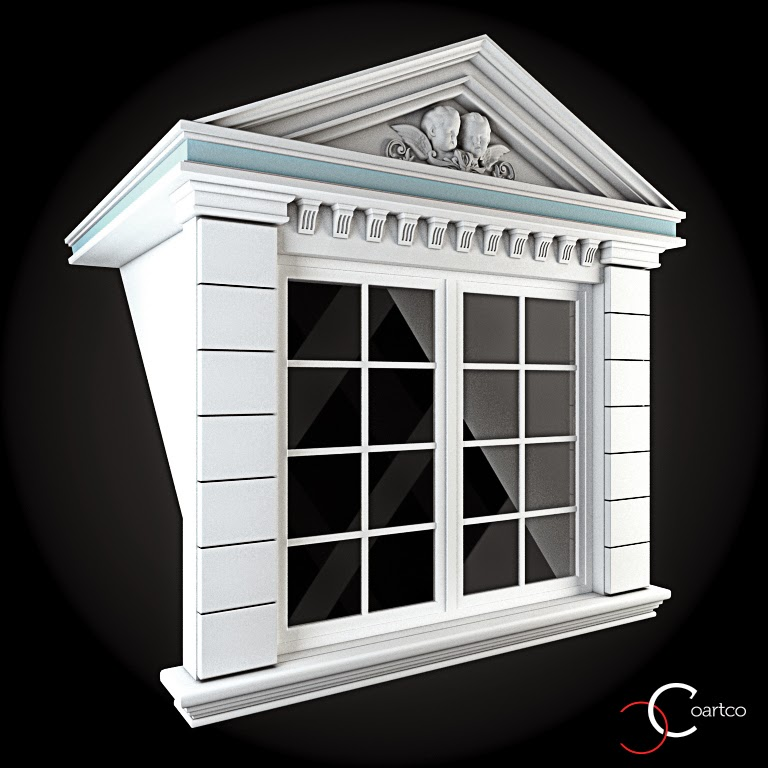 Ornamente Geamuri Exterior, fatade case cu profile decorative polistiren, profile fatada,  Model Cod: WIN-096