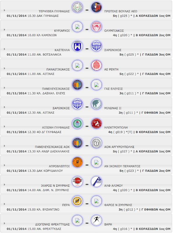 ΣΑΒΒΑΤΟ 01.11.2014 | Το πρόγραμμα αγώνων όλων των κατηγοριών - ομίλων.