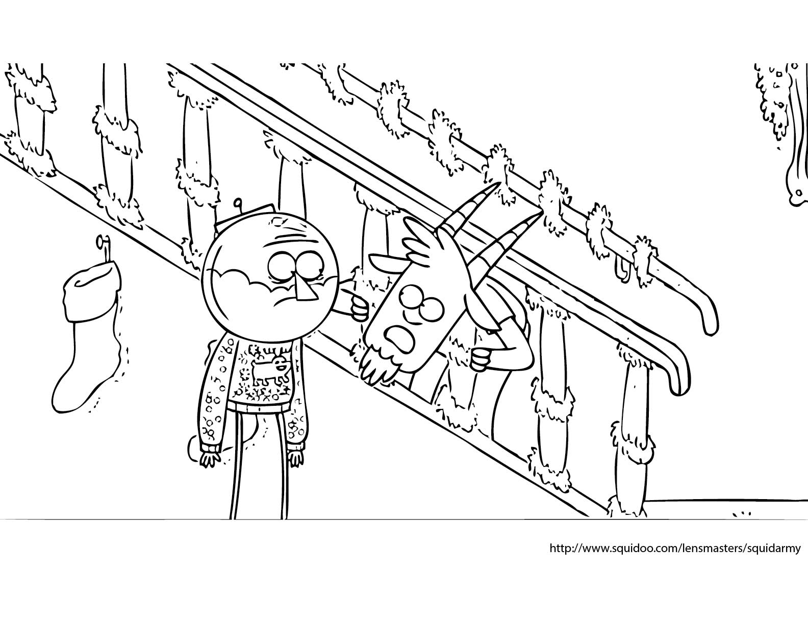 Free christmas coloring pages squid army for Regular show coloring pages