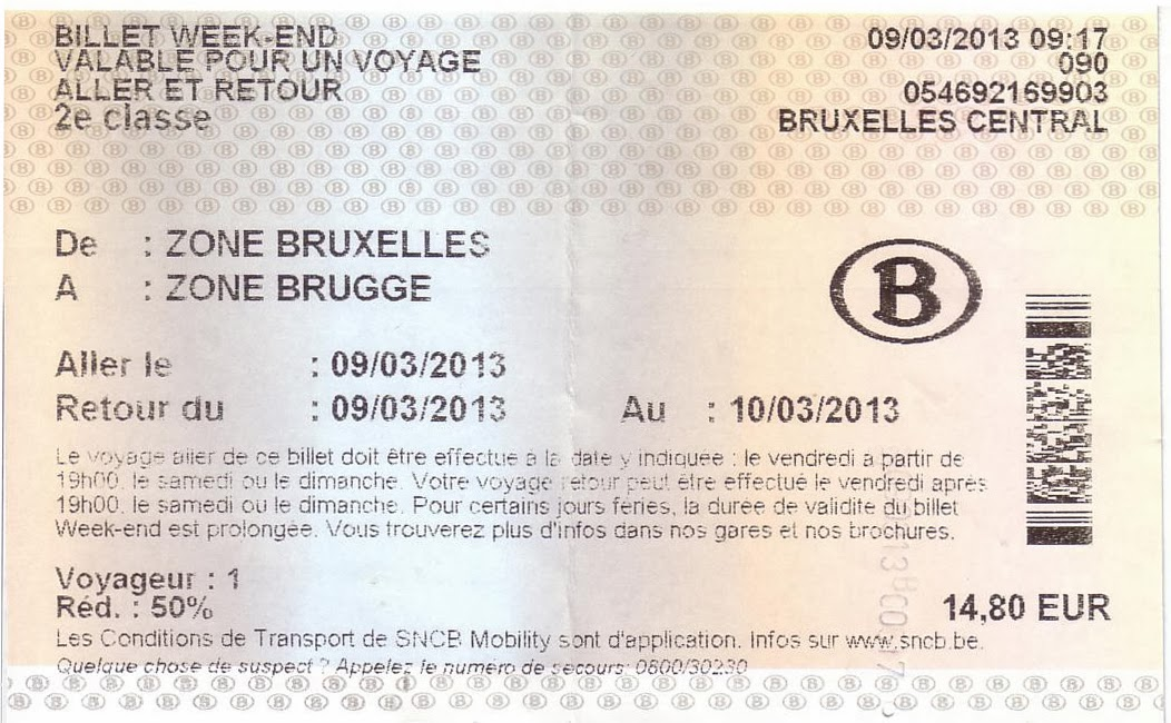 Billete de tren Bruselas-Brujas con tarifa week-end