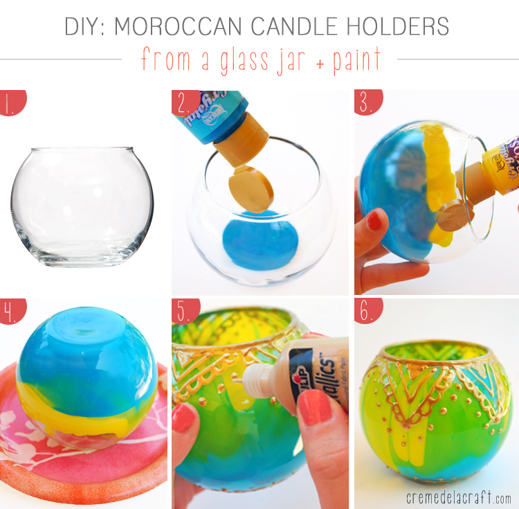 DIYMoroccan Candle Holders From Glass Jars + Paint